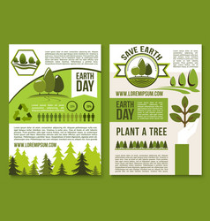 posters or brochure for earth day ecology vector image