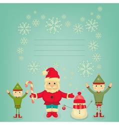 Santa Claus Christmas Elf and Snowman vector image vector image