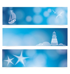 Travel and Nautical - blue awesome banners vector image vector image