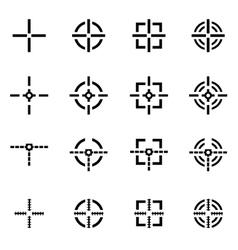 black crosshair icon set vector image