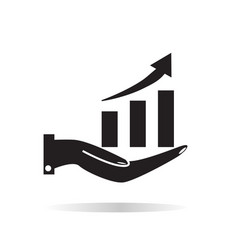 chart icon with hand on white background chart vector image vector image
