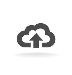 Cloud upload symbol Black wide outline style icon vector image