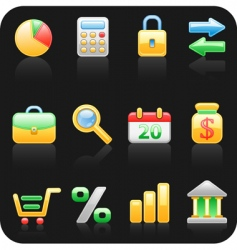 finance black background icon set vector image
