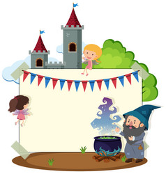 border template with wizard and fairies vector image vector image