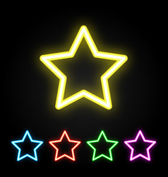 colorful neon star set vector image