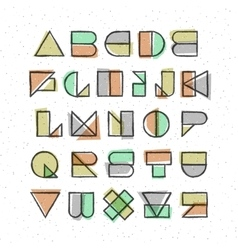 Geometric offset printing style font vector image