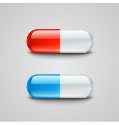 Photorealistic blue and red pills vector image vector image
