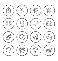 set round line icons of motorcycle equipment vector image