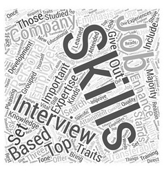 skills emphasis job interview dlvy nicheblowercom vector image vector image