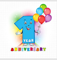1 anniversary funny digits vector