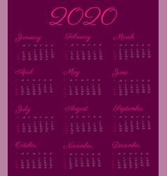 2020 calendar year - vintage vector
