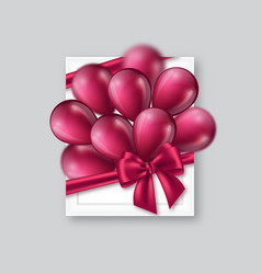 3d picture frame with purple bow and balloons vector image
