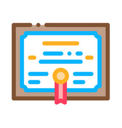 academy graduation diploma icon outline vector image