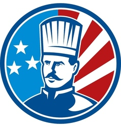 American Chef cook baker with stars and stripes vector