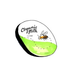 Bee Organic Milk Label Drawing vector