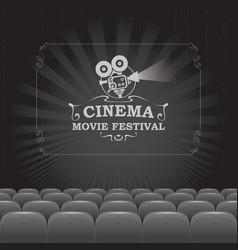 Black and white banner for cinema movie festival vector