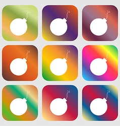 bomb icon Nine buttons with bright gradients for vector image