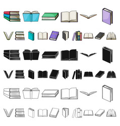 book in the binding cartoon icons in set vector image