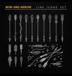 Bow and arrow icons vector