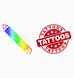 Bright pixel pencil icon and grunge tattoos vector