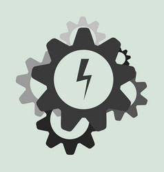 Business along gears icon flat vector