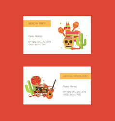 Business cards with mexican food ond vector