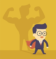 Businessman casting strong man shadow vector