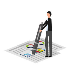 businessman with pen document chart report vector image