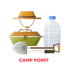 Camping or camp point tools icons vector