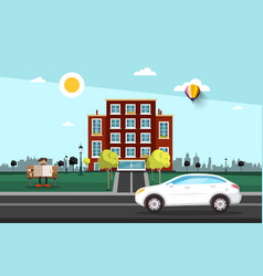 car on street with city building on background vector image