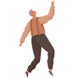 Cartoon elderly male soaring and flying in air vector