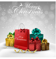 Christmas decorations bag and gift boxes vector