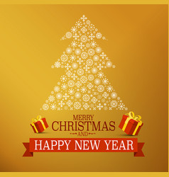christmas gold design with tree made of vector image