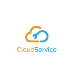 cloud services logo design symbol template vector image