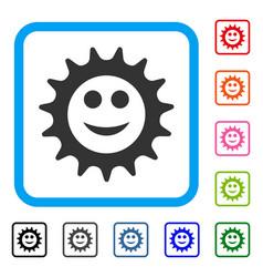 Cog glad smiley framed icon vector