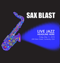 colorful jazz sax poster with space for text vector image