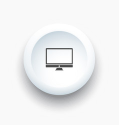 computer icon on white button vector image vector image