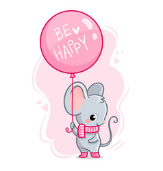 cute mouse with a balloon and inscription vector image