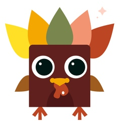 Cute retro colorful Turkey isolated on white vector
