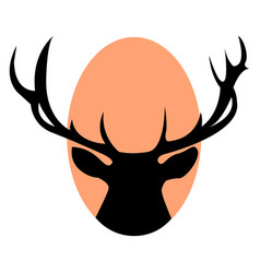 deer with horns on white background vector image