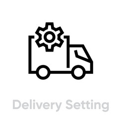 delivery setting truck icon editable line vector image