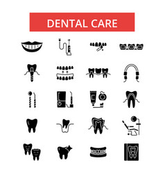 dental care thin line icons linear vector image