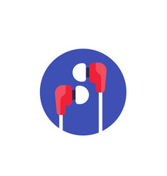 earbud headphones flat icon vector image