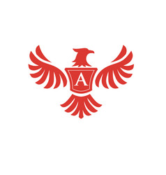 elegant phoenix with letter a logo vector image