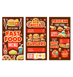 fast food banners with meals snacks and drinks vector image