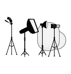 Flat studio light equipment set vector