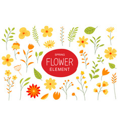 flowers and leaves in spring season simple design vector image