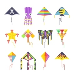 Flying kite collection Isolated on a white vector