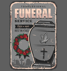 Funeral service burial urn of dust rose wreath vector
