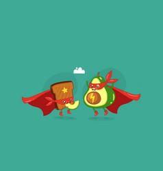 funny cartoon character avocado super hero vector image